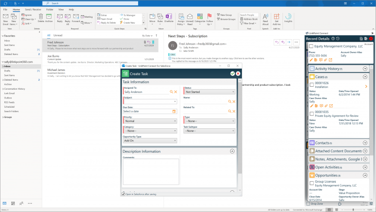 LinkPoint 360 custom deployment email and CRM integration graphic